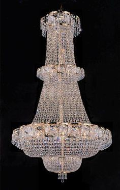 "French Empire Crystal Chandelier Lighting H 50"" W30"" - Perfect For An Entryway Or Foyer! - A93-928/21"