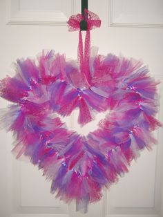 Pink sparkle/purple/white heart Valentine wreath