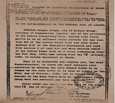 """October 7 1930 :: Death warrant of Bhagat Singh"" Bhagat Singh Quotes, Indian Freedom Fighters, Pakistani Newspapers, India Facts, Fight For Freedom, Personal Image, Mahatma Gandhi, History Facts"
