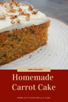 A super moist,homemade carrot cake with a classic cream cheese frosting. This is a delicious cake made with simple ingredients that are already available in your pantry. Make Ahead Desserts, No Bake Desserts, Easy Desserts, Dessert Recipes, Frosting Recipes, Homemade Carrot Cake, Homemade Cookies, Homemade Desserts, Delicious Cake Recipes