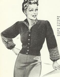 Lusekofte 1940s Inspired Fashion, 1940s Fashion, Vintage Fashion, Mode Vintage, Retro Vintage, Vintage Dresses, Vintage Outfits, Fair Isles, Vintage Knitting