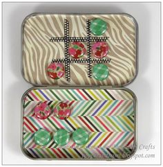 Create your own custom Tic Tac Toe Box in an Altoid tin with the #epiphanycrafts Shape Studio Tool Round 14.  www.epiphanycrafts.com #DIY #games #altoidtin