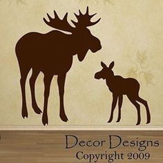 and baby silhouette Mom And Baby Moose Vinyl Wall Decal Sticker - Decor Designs Decals Mama und Baby Elch Vinyl Wall Decal Aufkleber 28 Moose Decor, Moose Art, Animal Silhouette, Moose Silhouette, Silhouette Machine, Baby T Shirts, You Draw, Applique Patterns, Wall Decal Sticker