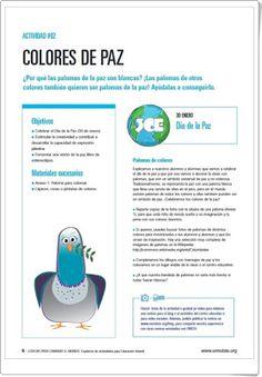 """Colores de Paz"" (Educación Infantil). Unicef. Cultural, Ideas, Peace Dove, Teaching Resources, Master's Degree, Educational Activities, Proposal, January, Thoughts"