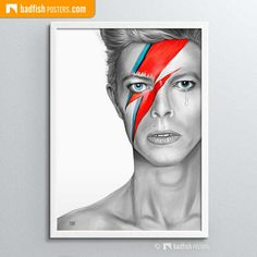 The artwork shows the b&w painting of David Bowie as Aladdin Sane. Only his eyes and the lightning bolt on his face are painted in colour. Meet David here. Illustration Art Drawing, Art Drawings, Aladdin Sane, Anime Animals, David Bowie, Art Music, His Eyes, Art Girl, Face