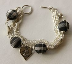 Black Tartan and Charms Bracelet by Maffa on Etsy