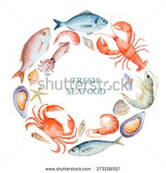 Watercolor set of seafood from lobster, crab, fish, squid, octopus, shrimp…