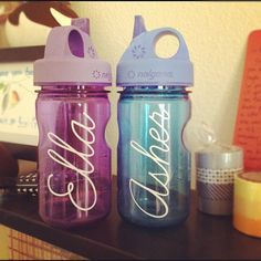 Names on the kids Nalgene bottles, done with Premium Vinyl & Silhouette Cameo!  DONE!  Photo by seventeenandem • Instagram