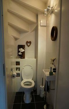 Solutions For Guest, Bathroom Under Stairs 09 Bathroom Under Stairs, Under Stairs Cupboard, Small Bathroom, Understairs Toilet, Small Toilet, Staircase Design, Stair Design, Minimalist Bathroom, Bathroom Interior Design