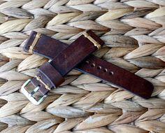 20x18mm brown vintage leather watch strap by VladislavKostetskyi