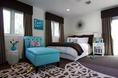 Contemporary Bedroom Design Ideas with Turquoise Sofa and Stylish Decorating Interior