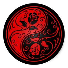 Red and Black Yin Yang Roses Round Sticker