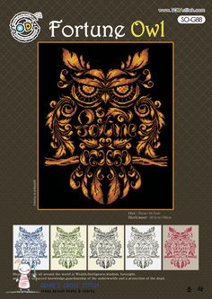 Fortune Owl Counted cross stitch pattern leaflet. SODAstitch SO-G88 by GeniesCrossstitch on Etsy
