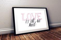 LOVE wall print by foxywanders on Etsy