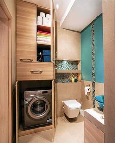 Small bathroom laundry Every family home needs a laundry room, but not all homes have enough space for one. Here's how you can incorporate them in small bathroom. Laundry Room Bathroom, Laundry Room Design, Bathroom Design Small, Bathroom Interior Design, Bathroom Storage, Bath Room, Laundry Rooms, Master Bathroom, Bathroom Layout Plans