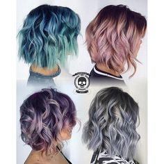 Rickey Zito has created four metallic, messy lobs. Which one is your favorite? Lived in hair Pastel hair instagram.com/hotonbeauty