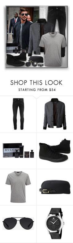 """Bomber jacket!"" by asia-12 ❤ liked on Polyvore featuring Alexander McQueen, LE3NO, Bulgari, Converse, Joseph, MIANSAI, Bally, Gucci, men's fashion and menswear"