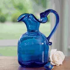 Handmade in Virginia's Jamestown Glasshouse -Cobalt Blue Ruffled Pitcher-Very Pretty