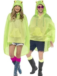 Smiffys Party Poncho - Green Frog Style Festival Rain Mac Animal Poncho