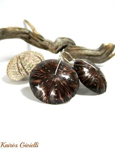 Urchins_ handmade copper and sterling silver earrings by Kairòs Gioielli