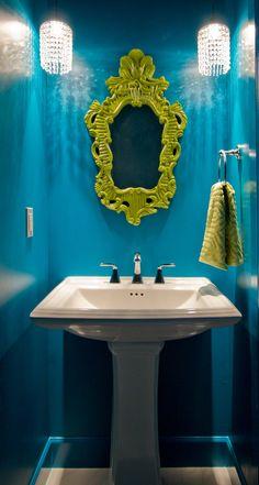 teal powder bathroom | Design Hintz