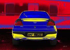 'Opel Tigra in blue & yellow 01' von Arthur Huber bei artflakes.com als Poster oder Kunstdruck $20.79