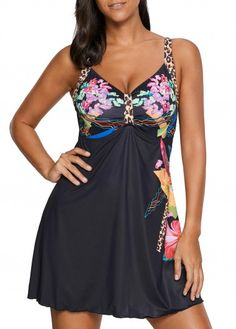Black Criss Cross Back Underwire Swimdress and Shorts.