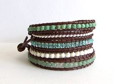 Chan Luu Inspired Leather Wrap Bracelet with Aventurine Magnesite Turquoise and Crystal Beads on Brown Leather. $39.95, via Etsy.