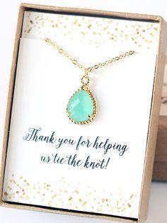 Mint Bridesmaid Necklace SALE Jewelry Bridesmaid by LimonBijoux