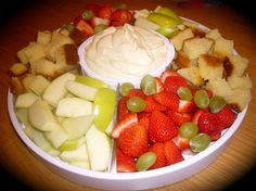 Bailey s Irish Cream Fruit Dip from Food.com: This is a delicious twist on fruit dip. Different from the regular cream cheese based dips, this is lighter and creamier. Serve with fresh fruit slices and squares of pound cake or angel food cake. Hope you enjoy!