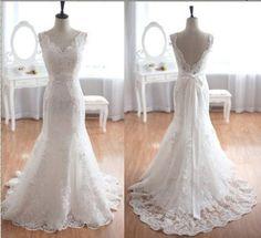 Rückenfrei Spitze Brautkleid V Ausschnitt Lace Hochzeitskleid Spitze…