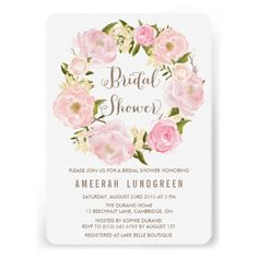 Romantic watercolor illustration wreath of pink and blush roses and peonies. ♥ More bridal shower invitations at http://www.zazzle.com/bridal+shower+invitations?ps=120&rf=238252963030229232&tc=wpz ♥