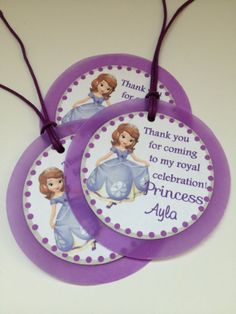 Sofia the First Custom Birthday Party Thank you Gift Tags