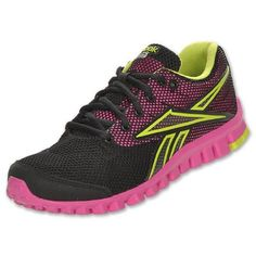 Reebok Womens RealFlex Optimal TS Black/Dynamic Pink/Charged Green Leather And Mesh Running 11 on Sale