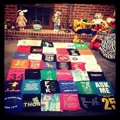 THON T-shirt Quilt Made Easy! Totally doing this, one for my THON shirts and one for my Penn State/White-out shirts Quilting Projects, Quilting Designs, Sewing Projects, Sewing Ideas, Sewing Crafts, Craft Projects, Recycled T Shirts, Old T Shirts, Dance Marathon