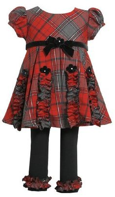 503824986 Bonnie Jean Little Girls Christmas Ruched Plaid Dress Legging Outfit, Red