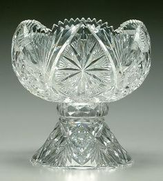 American Brilliant Cut Glass Punchbowl & Stand