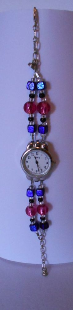 Beaded Watch , with sterling silver chain and closure , and safty magnetic clasp