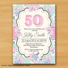 Shabby Chic Birthday Invitation for any age 30th by miprincess