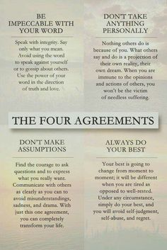 These 4 truths from the ancient Toltec tribe in Mexico were sacred wisdom passed down for centuries. Now this wisdom is shared by people of all cultures. Best-selling book by Don Miguel Ruiz. Positive Quotes, Motivational Quotes, Inspirational Quotes, Uplifting Quotes, Positive Life, Positive Affirmations, Wisdom Quotes, Quotes To Live By, Advice Quotes
