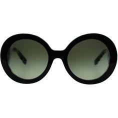 Prada PR 27NS ROK4M1 Top Black On White Havana Round Metal Sunglasses ($200) ❤ liked on Polyvore featuring accessories, eyewear, sunglasses, glasses, black, white lens sunglasses, rounded sunglasses, prada glasses, round metal sunglasses and metal glasses