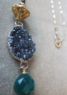 Druzy & Green Topaz Pendant www.halliescomet.com Green Topaz, Artisan, Pendant Necklace, Drop Earrings, Gemstones, Beauty, Jewelry, Fashion, Moda