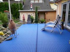 Terrassenboden in hellblau aus Terrassenfliesen Bergo ROYAL
