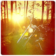 Motorcycle Dragstar 650 at sunset.