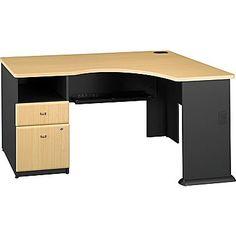 Bush Business Cubix Single Pedestal Corner Desk, Euro Beech/Slate