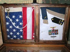 A close-up of the top.  Antique Trunk Used as Navy Retirement Shadow Box Antique Trunk and Storage Chest