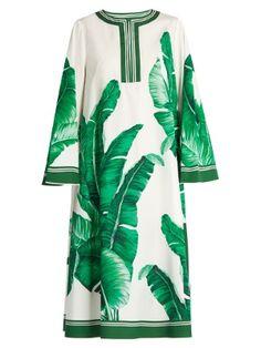 Banana leaf-print cotton kaftan  | Dolce