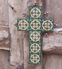 Green Cross, Talavera and Metal crafted by hand by Mexican artisan, religious, decoration, home decor