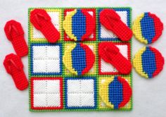 Tic-Tac-Toe Game Summer Fun Red by gailscrafts on Etsy Plastic Canvas Coasters, Plastic Canvas Crafts, Plastic Canvas Patterns, Tic Tac Toe Game, Different Games, Christmas Gifts, Christmas Ornaments, Perler Beads, Beading Patterns