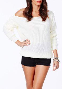 White Plain Boat Neck Casual Pullover Sweater